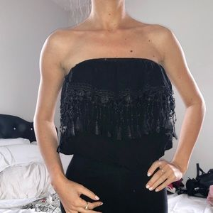 Boho fringe strapless crop top size small